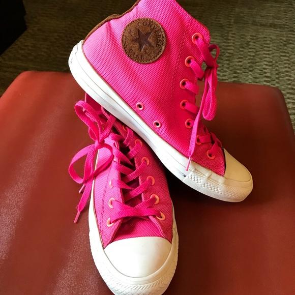 2bc8021a9877 Converse Shoes - Converse hot pink Chuck Taylor high tops